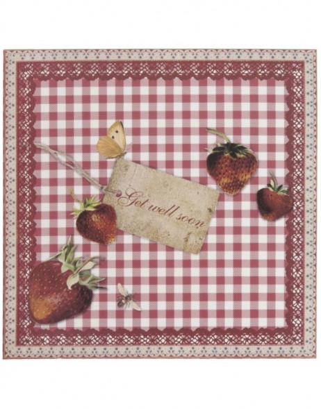 get well card with strawberries English 13,5x13,5 cm