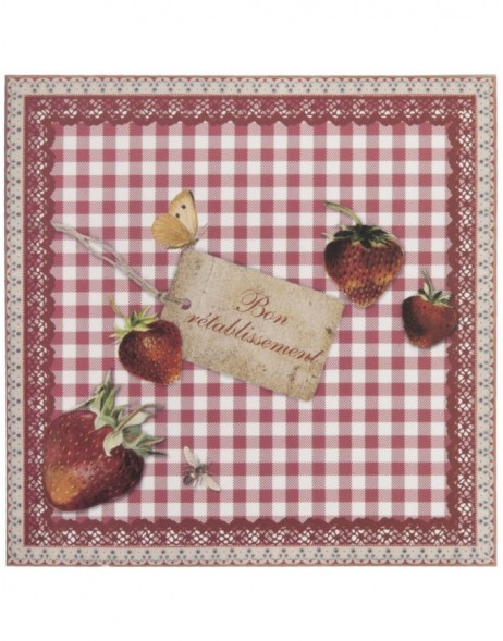get well card with strawberries French 13,5x13,5 cm