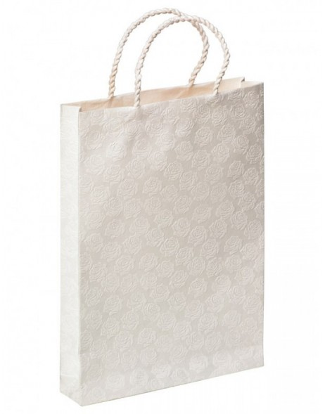 Gift bag WEDDING ROSE - white