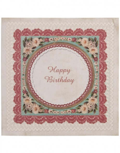 pretty birthday card English 13,5x13,5 cm