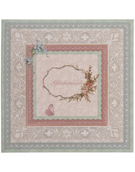 nostalgic greeting card with lace German 13,5x13,5 cm