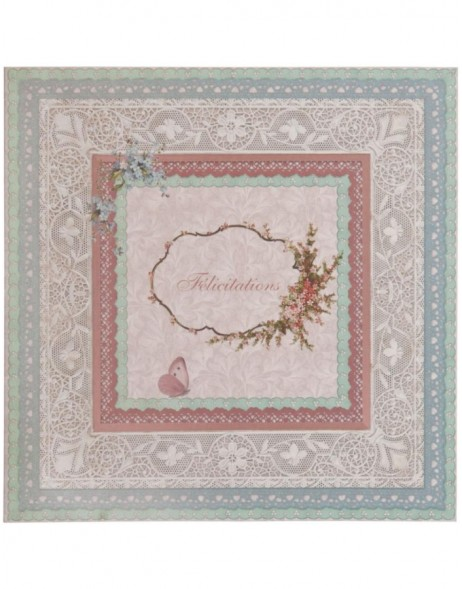 nostalgic greeting card with lace French 13,5x13,5 cm