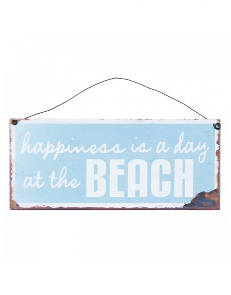HAPPINESS tin-plate sign 25x11 cm
