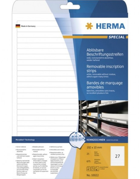 HERMA Removable inscription strips A4 192x10 mm white Movables/removable paper matt 675 pcs.