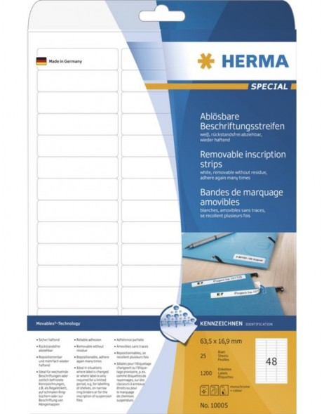 HERMA Removable inscription strips A4 63,5x16,9 mm white Movables/removable paper matt 1200 pcs.