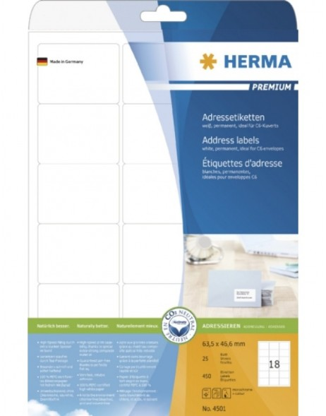 HERMA Address labels Premium A4 63,5x46,6 mm white paper matt 450 pcs.