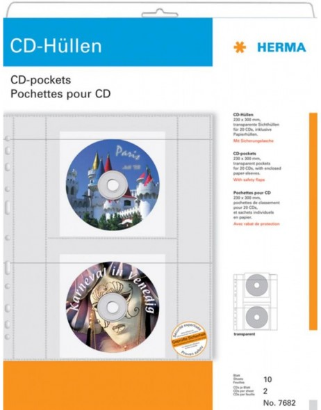 HERMA CD pockets made of transparent film incl. paper pockets 10 p