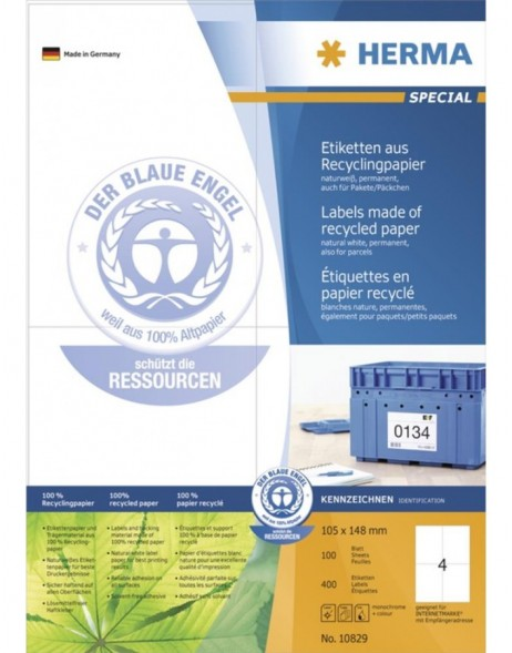 HERMA Labels natural white 105x148 A4 recycled paper with Blue Angel ecolabel 400 pcs.