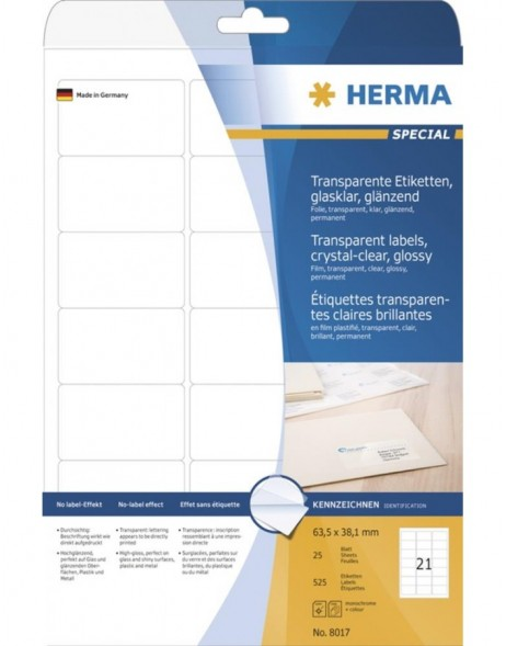 HERMA Labels transparent crystal-clear  A4 63,5x38,1 mm transparent clear film glossy 525 pcs.