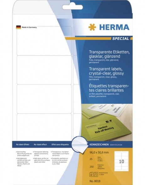 HERMA Labels transparent crystal-clear  A4 96x50,8 mm transparent clear film glossy 250 pcs.