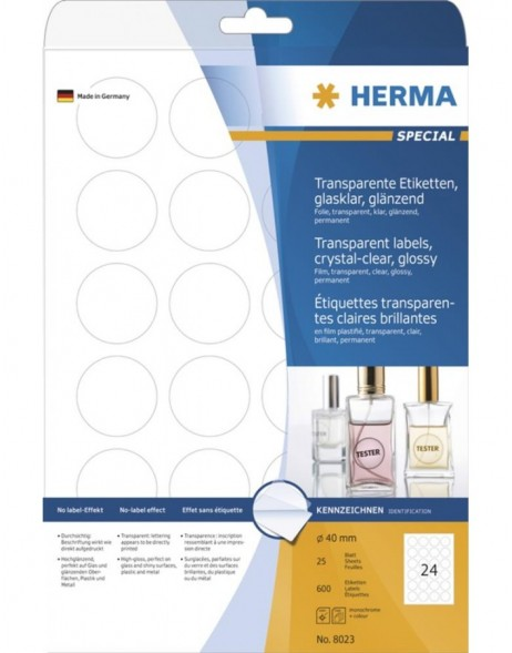 HERMA Labels transparent crystal-clear  A4 Ø 40 mm round transparent clear film glossy 600 pcs.