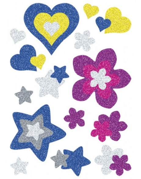 HERMA Sticker MAGIC hearts, stars+flowers, glittery