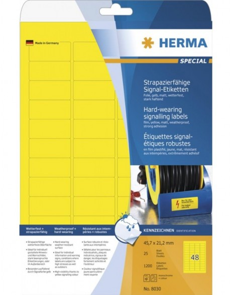 HERMA Labels signalling hard-wearing A4 45,7x21,2 mm yellow strong adhesion film matt weatherpr. 1200 pcs.