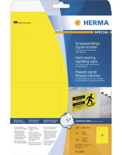 HERMA Signs signalling hard-wearing A4 105x148 mm yellow strong adhesion film matt weatherproof 100 pcs.