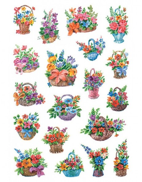 HERMA Decorative labels DECOR flowers in basket 3 sheets