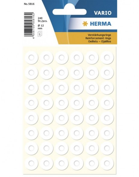 HERMA Reinforcement rings self-adhesive � 12 white 240 pcs.