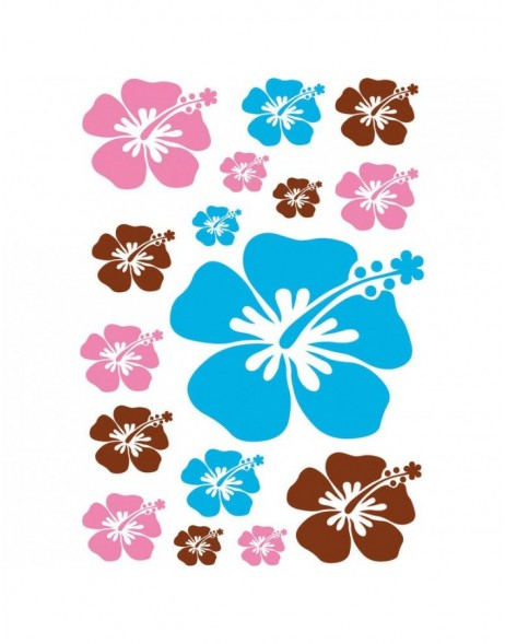 wall stickers hibiscus 2 sheets
