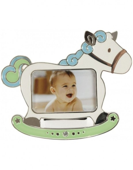 HORSE baby photo frame blue
