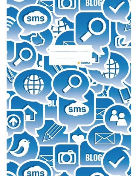 Exercise book cover A4 Social Icons blue
