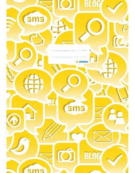 Exercise book cover A4 Social Icons yellow