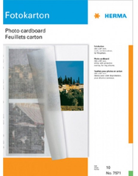 photo mounting board A4 white 230x297 with protection sheet 10 s