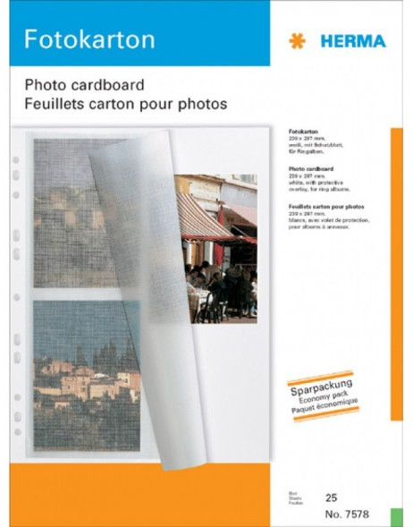photo mounting board A4 white 230x297 with protection sheet 25 s