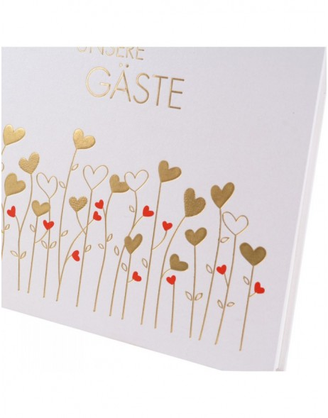 Wedding guestbook Golden Hearts