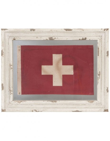 Wooden picture Swiss flag 48x37 cm