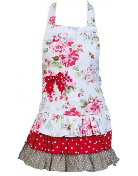 KT041K.002 Clayre Eef FLOWER children apron white/red