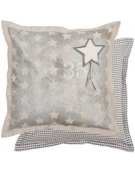 kissen lucky stars grau mit stern 50x50 cm fotoalben. Black Bedroom Furniture Sets. Home Design Ideas