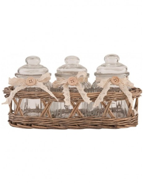 Basket with 3 storage jars
