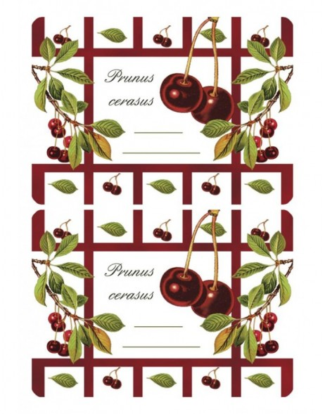 Adhesive canning labels Sour Cherry - 3 sheets