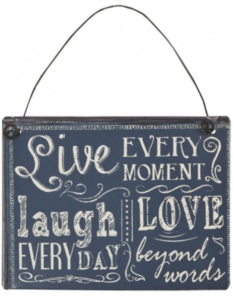 LIVE LAUGH tin-plate black - 6Y1326 Clayre Eef