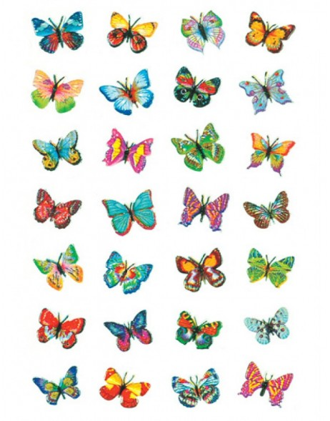 Decorative label MAGIC butterflies, glittery 1 sheet