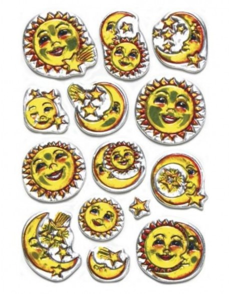 decorative labels Moon - embossed
