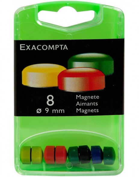 Magnets Ø 9 mm Assorted Colors 8 pieces