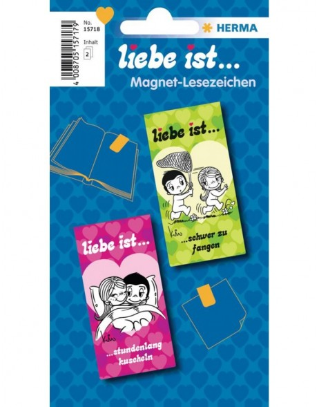 Liebe ist ... Magnetic bookmarks - green/pink