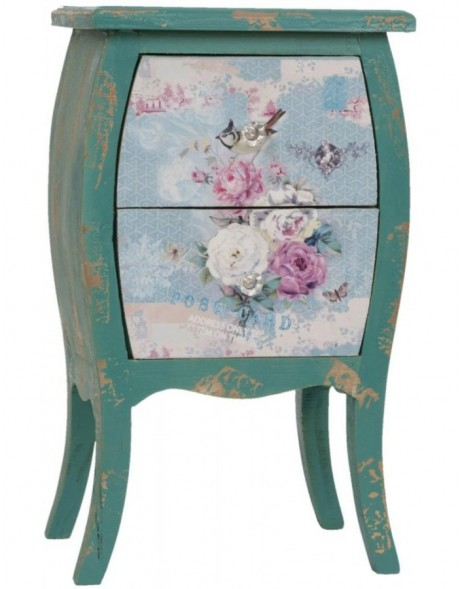 green bedside table SHABBY 35x60 cm