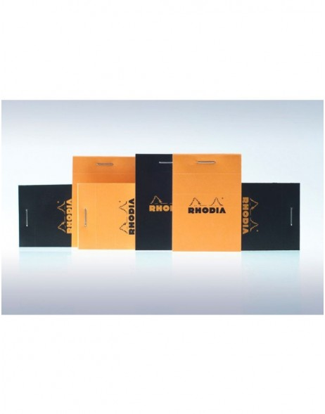 stapled notepad and microperforated Rhodia, 5.2 x 7.5 cm, 80 sheets, 80g, plaid Orange