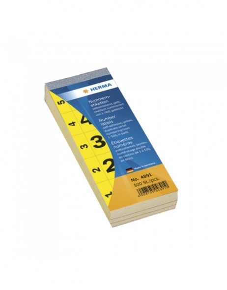 Number blocks self-adhesive 1-500 yellow 28x56mm
