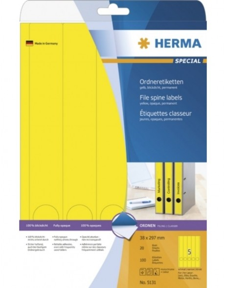 File spine labels yellow 38x297 A4 100 pcs.