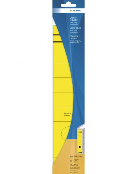 Spine labels 61x295,4 mm yellow