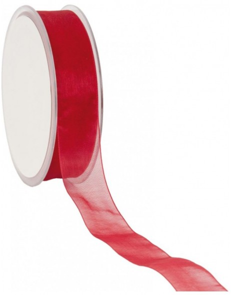 Organza Band 50 Meter x25 mm rot