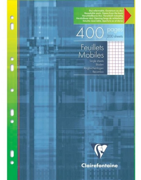 Pack 200 sheets Loose-leaf A4 21x29,7cm, 90g, checkered with white border