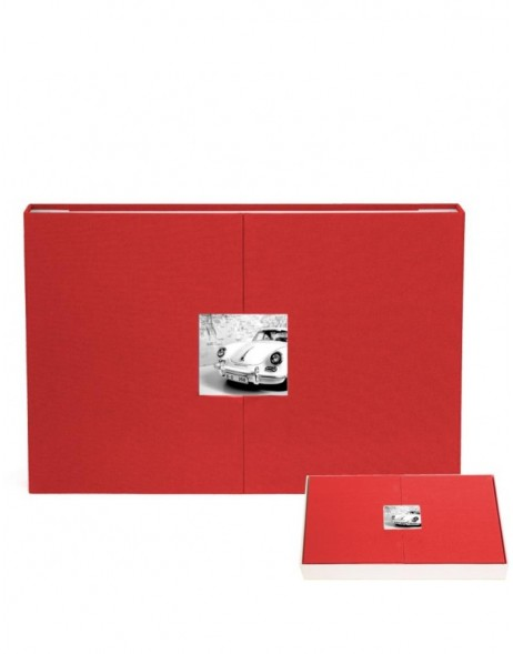 panorama photo album red with magnet-breech