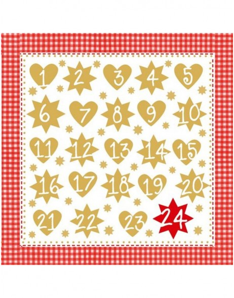 Papier-Servietten Advent 1-24/rot