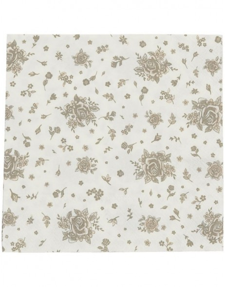 Papierservietten Flower All Over 33x33 cm beige