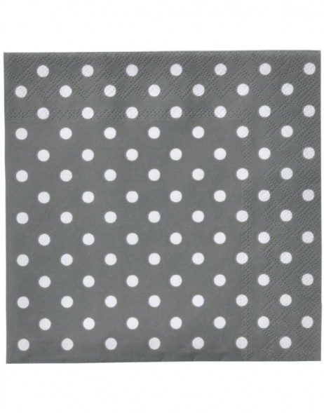 Papierservietten Just Dots grau 33x33 cm