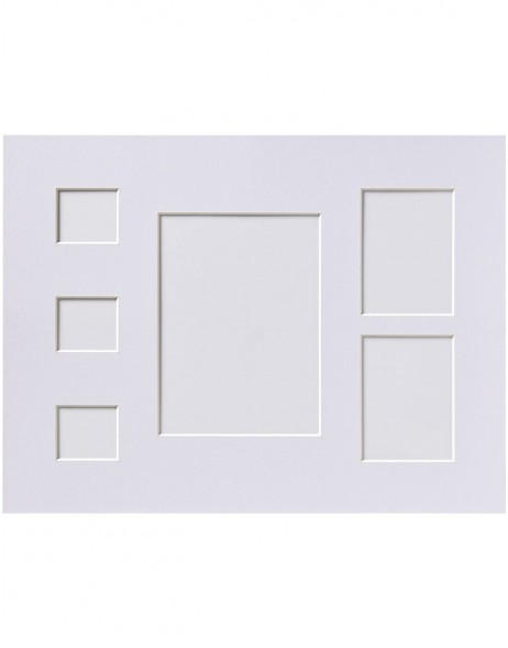 Bevel cut mat 30x40 cm chamois and white  with 6 and 7 cutouts