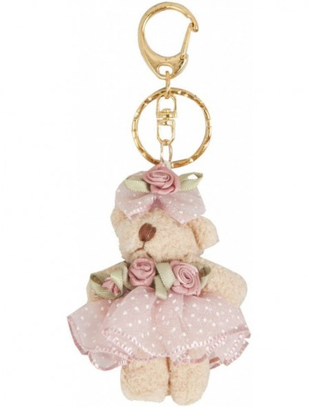 Teddy key chain 6 cm pink dotted